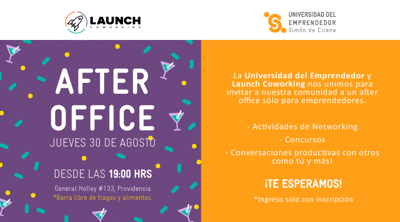 After Office para emprendedores; UDE + LAUNCH coworking